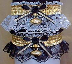 Sports Fan Bands Football Garter in Team Colors for New Orleans Saints. garders, garder
