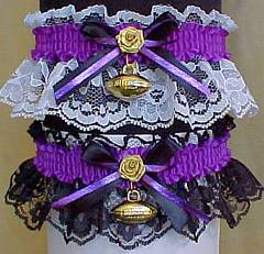Sports Fan Bands Football Garter in Team Colors for Baltimore Ravens. garders, garder