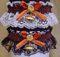 Sports Fan Bands Football Garter in Team Colors for Cleveland Browns. garders, garder