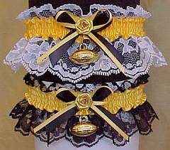 Sports Fan Bands Football Garter in Team Colors for Pittsburgh Steelers. garders, garder