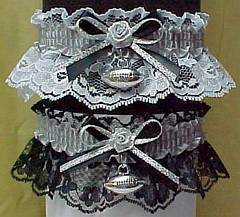 Sports Fan Bands Football Garter in Team Colors for Oakland Raiders. garders, garder