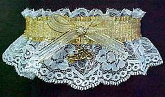 Gold Chain Mail Biker Bands™ Garter with a motorcycle charm. Gold and White Biker Bands™ Motorcycle Garters. garder