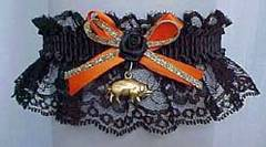 Biker Bands� Motorcycle Garters in Black and Orange with a Gold Hog Charm. Biker Bands� Hog Garter. garter, garders, garder