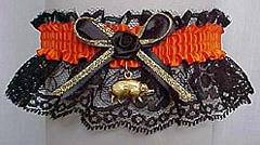 Biker Bands™ Motorcycle Garters in Orange and Black with a Gold Hog Charm. Biker Bands™ Hog Garter. garter, garders, garder