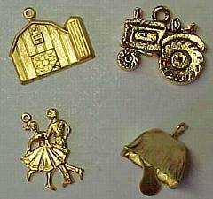 Farm Charms for Garters. Barn, Silo, Tractor, Square Dancers, Cowbell. garter, garder, garders