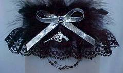 Western Garter on Black Lace. Choice of Western Charms attached. garders, garder