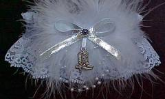 Western Garters on White Lace. Choice of Western Charms attached. garders, garder
