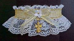Gold and White Valentine Garter with Angel Charm
