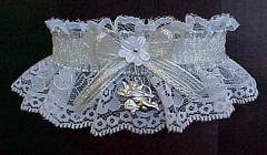 Silver and White Valentine Garter with Cupid Charm