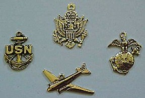 Military Charms. US Navy Charm, US Army Charm, US Marines Charm, US Air Force Airplane Charm