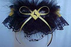 Deer Crossing Prom Garters on Black Lace. Deer X-ing Garters. Dear X-ing Garters
