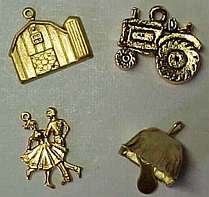 Farm Charms, Barn w/Silo, Tractor, Square Dancers, Cow Bell