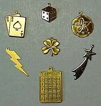 Lucky Gambling Charms, Black Jack Cards, Dice, Sand Dollar, Lightening Bolt, 4-Leaf Clover, Shooting Star, Bingo Card