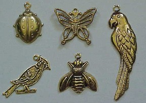 Charms. Ladybug, Butterfly, Cardinal, Bee, Parrot