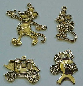 Charms. Mickey Mouse, Minnie Mouse, Cinderella Carriage, Knight, Lancer