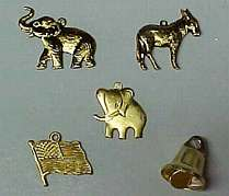 Political Charms. Elephant, Donkey, Flag, Liberty Bell